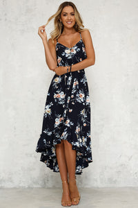 Floral Spaghetti Strap High Low Dress