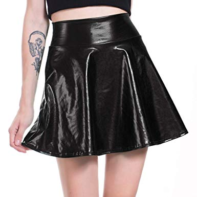 High Waisted Shiny A Line Mini Skirt