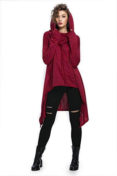 High Low Tunic Hoodie with Pockets