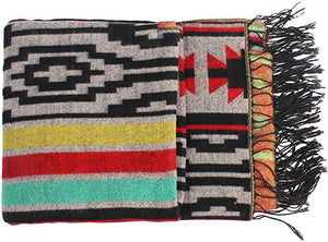 Color Block Printed Blanket Fringe Scarf