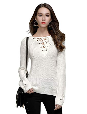 Side-Slit Lace Up Knit Sweater