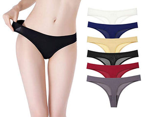 Ice Silk Invisible Seamless Thongs Pack of 6