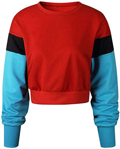 Crew Neck Color Block Crop Sweatshirt