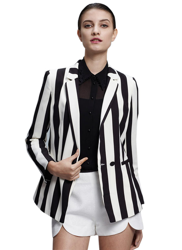 Black and White Striped Blazers Jacket