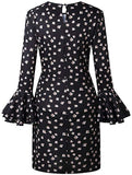 3/4 Flare Sleeve Polka Dots Mini Dress