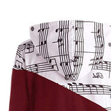Music Notes Printed Color Block Hoodies