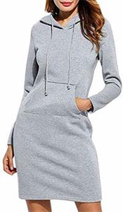 Fleece Drawstring Midi Hoodies Dress
