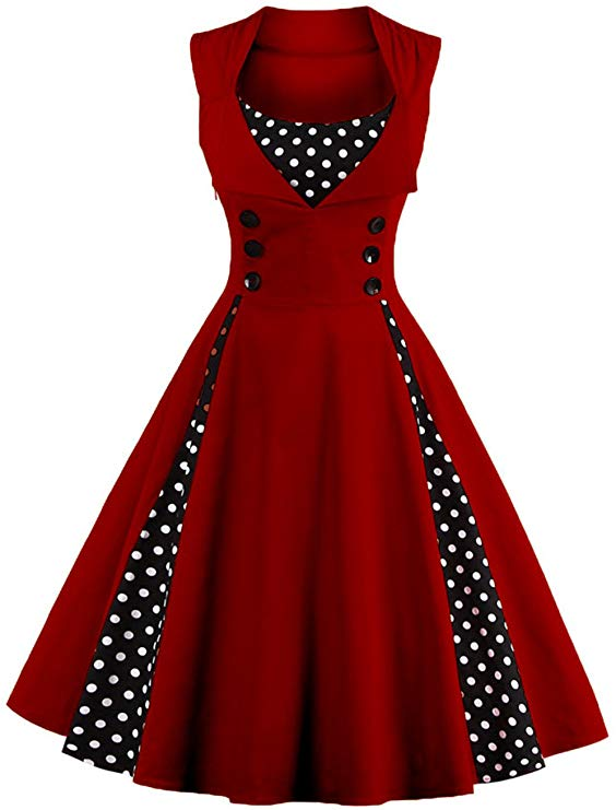 Sleeveless Polka Dot Vintage Dress