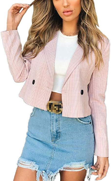 Lapel Plaid Cropped Blazer Jacket