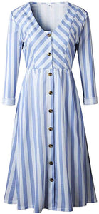 Striped Button Midi Dress with Pockets