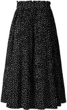 Polka Dot Pleated Midi Skirt with Pockets