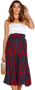Floral Pleated Midi Skirt with Pockets