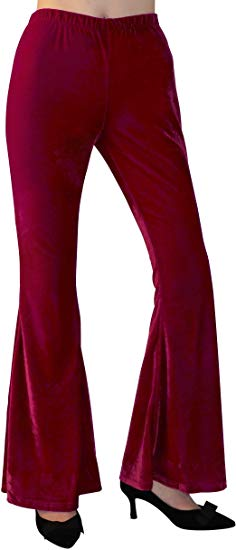 High Waisted Velvet Flared Pants