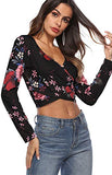 Wrap Cross Floral Crop Tops