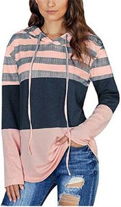Striped Color Block Hoodie Sweatshirt