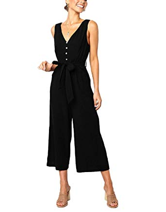 Sleeveless Wide Leg Jumpsuit with Pockets