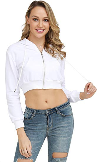 Workout Zip Crop Top Hoodies