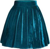 Stretchy Skater Velvet Mini Skirt