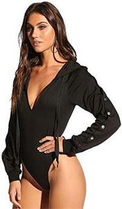 Plunge Button Sleeve Hooded Bodysuit