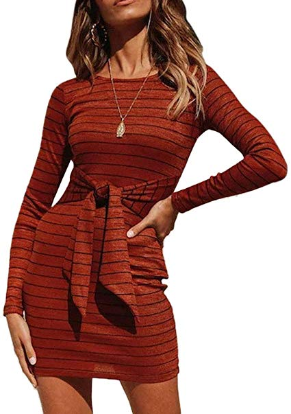 Tie Front Striped Pencil Mini Dress