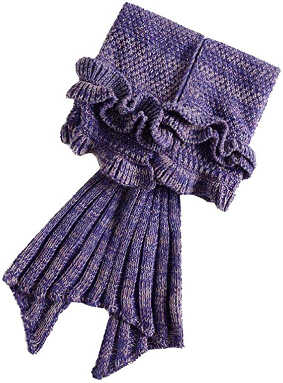 Knitted Ruffle Mermaid Tail Blanket for Kids
