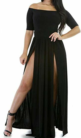 Off Shoulder High Slit Cocktail Party Dress
