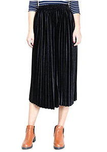 Pleated Velvet Midi Skirt