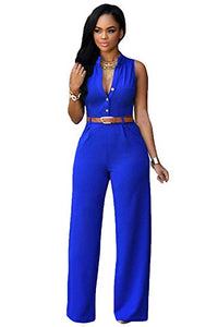 Sleeveless Wide Leg Jumpsuits with Belted