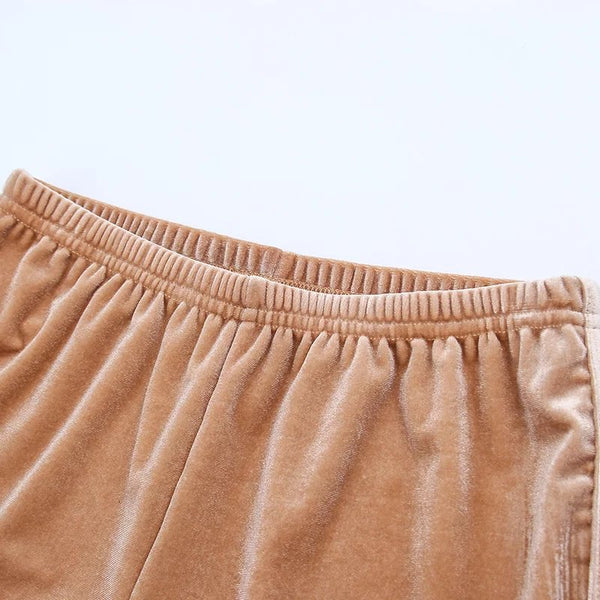Elastic Velvet Short Pants
