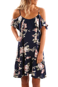 Boho Cold Shoulder Ruffle Floral Midi Dress