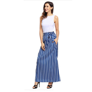High Waisted Stripe Maxi Skirts with Pocket