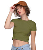 Round Neck Solid Crop Tee