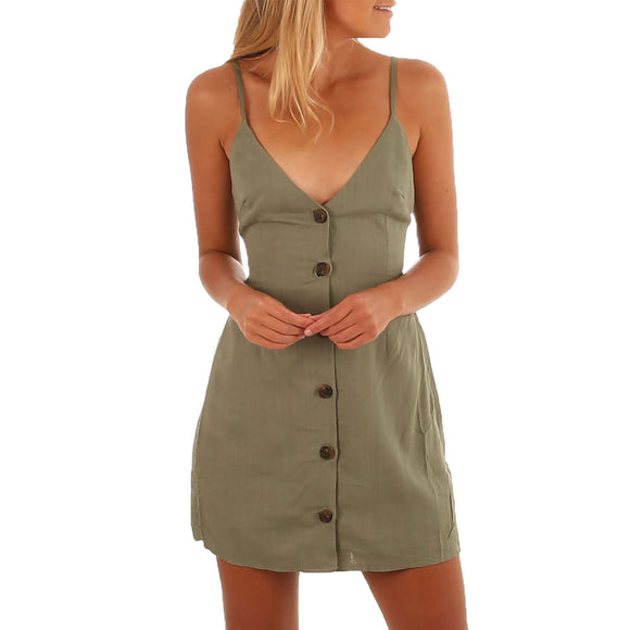 Button Up Spaghetti Strap Mini Dress