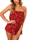 Floral Print Strapless Romper