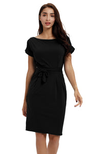 Office Midi Pencil Dress Pockets With Belt