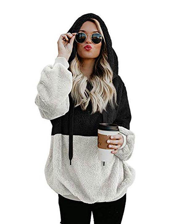 Oversized Sherpa Color Block Hooded