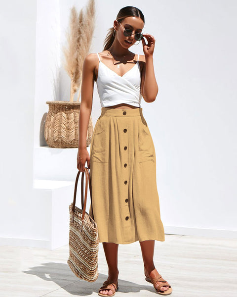 Bohemia High Waist Line Button Beach Maxi Skirt