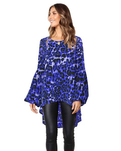 Lantern Sleeves Leopard High Low Tops