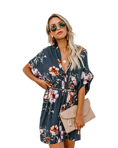 Button Down Floral Mini Dress with Belt