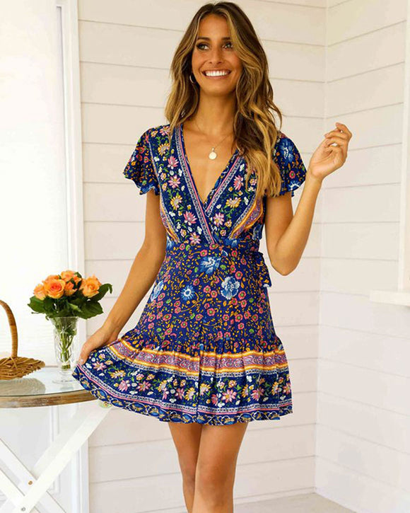Bohemian Floral Mini Wrap Dress with Belt