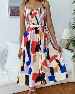 Geometric Print Camisole Midi Dress