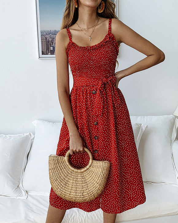 Spaghetti Strap Polka Dots Midi Dress