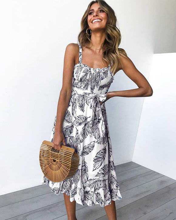 Spaghetti Strap Leaf Print Midi Dress