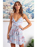 Floral Wrap Spaghetti Straps Mini Dress