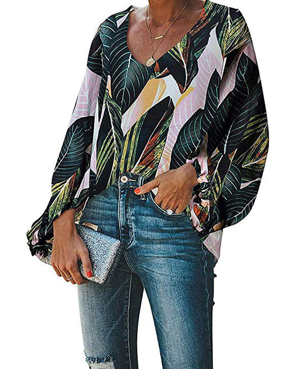 Lantern Sleeve Tropical Palm Print Tops