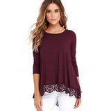 Lace Trim A-Line Tunic Blouse