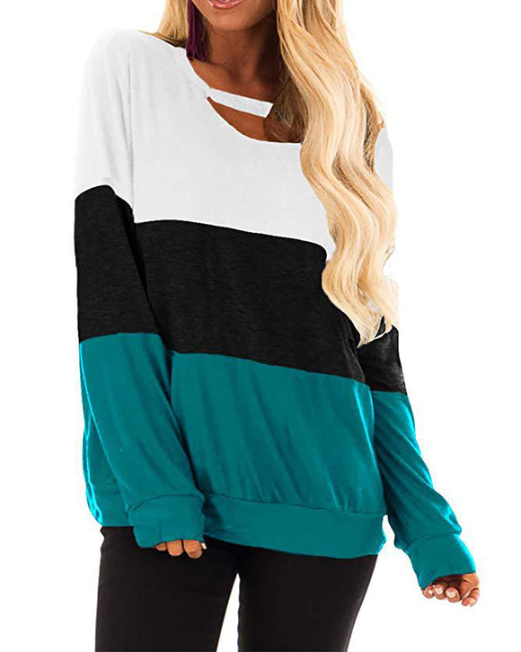Cut Out Color Block Blouse