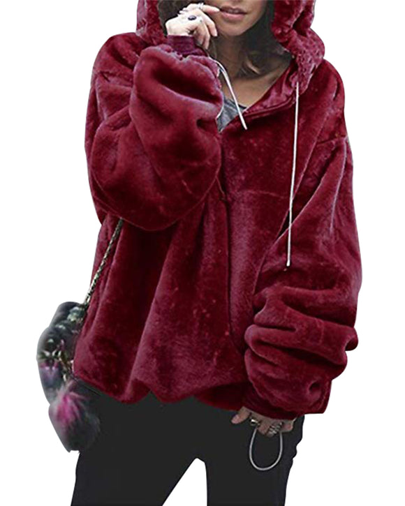 Zipper Fuzzy Fleece Oversized Hoodie