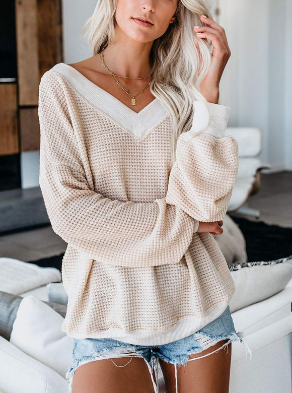 Drop Shoulder Waffle Knit Top
