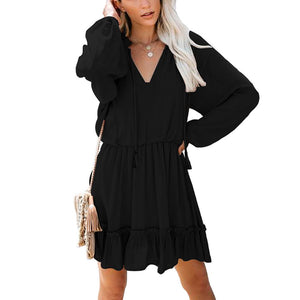 Elastic Waist Ruffle Mini Dress